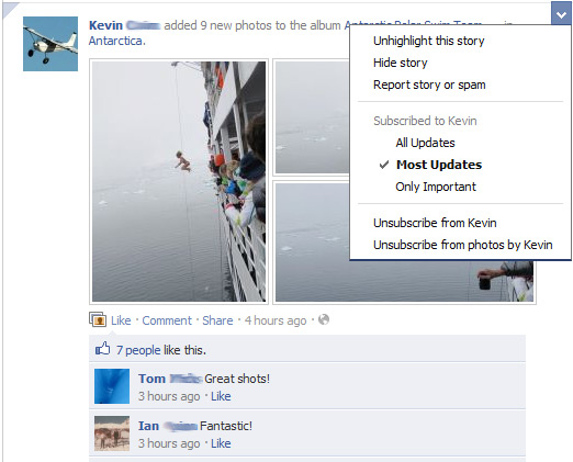 Change your Facebook news feed settings